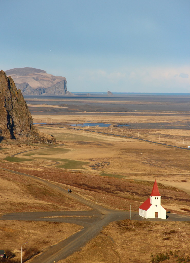 white church standing at a crossroad, Iceland