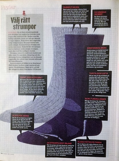 the socks page in magazine Turist stf shows how to choose the right sock