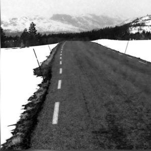 the endless road in black and white
