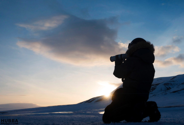 Photographer Melissa Schaefer on arctic ice, Svalbard. Image credit Fredrik Granath.